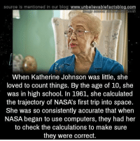 trajectory: source is mentioned In our blog: www.unbellevablefactsblog.com  When Katherine Johnson was little, she  loved to count things. By the age of 10, she  was in high school. In 1961, she calculated  the trajectory of NASA's first trip into space  She was so consistently accurate that when  NASA began to use computers, they had her  to check the calculations to make sure  they were correct.
