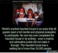 Facts, Memes, and Weird: source is mentioned on: weird-facts.org  World's scariest haunted house is so scary that all  guests need a full mental and physical evaluation  to participate. No one has ever completed the  haunted house in its entirety - even a marine  and adrenaline junkie did not make it  through. The haunted house has a  waiting list of more than 24,000 people.  blowingfact