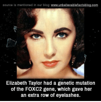 elizabeth: source ls mentioned in our blog  www.unbelievablefactsblog.com  Elizabeth Taylor had a genetic mutation  of the FOXC2 gene, which gave her  an extra row of eyelashes.