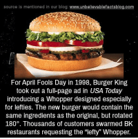 """memes: source ls mentioned in our blog  www.unbelievablefactsblog.com  For April Fools Day in 1998, Burger King  took out a ful-page ad in USA Today  introducing a Whopper designed especially  for lefties. The new burger would contain the  same ingredients as the original, but rotated  180. Thousands of customers swarmed BK  restaurants requesting the """"lefty Whopper."""