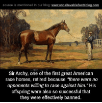 "Horses, Memes, and American: source ls mentioned In our blog  www.unbelievablefactsblog.com  Sir Archy, one of the first great American  race horses, retired because ""there were no  opponents willing to race against him. ""His  offspring were also so successful that  they were effectively banned Usain Colt."