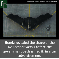Subscribe to our YouTube channel: youtube.com-FactPoint check Source at : FactPoint.net- Or check this link: https:-jalopnik.com-how-honda-revealed-the-governments-top-secret-stealth-b-666462873: Sources mentioned at: FactPoint.net/  fp  aded in soxcy for years the Stealth Boomber will soon be intoduced to  the potlic. For the rooed we intoduced ours firs. The CRYSI ONDA  Honda revealed the shape of the  B2 Bomber weeks before the  government declassified it, in a car  advertisement. Subscribe to our YouTube channel: youtube.com-FactPoint check Source at : FactPoint.net- Or check this link: https:-jalopnik.com-how-honda-revealed-the-governments-top-secret-stealth-b-666462873