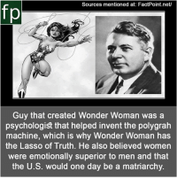 Memes, Wikipedia, and youtube.com: Sources mentioned at: FactPoint.net/  fp  Guy that created Wonder Woman was a  psychologist that helped invent the polygrah  machine, which is why Wonder Woman has  the Lasso of Truth. He also believed women  were emotionally superior to men and that  the U.S. would one day be a matriarchy. Subscribe to our YouTube channel: youtube.com-FactPoint check Source at : FactPoint.net- Or check this link: https:-en.wikipedia.org-wiki-William_Moulton_Marston