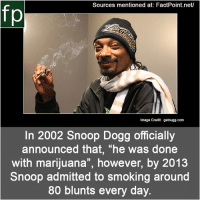 "Blunts, Life, and Memes: Sources mentioned at: FactPoint.net/  fp  Image Credit: getnugg.com  In 2002 Snoop Dogg officially  announced that, ""he was done  with marijuana"", however, by 2013  Snoop admitted to smoking around  80 blunts every day. Subscribe to our YouTube channel: youtube.com-FactPoint check Source at : FactPoint.net- Or check this link: https:-en.wikipedia.org-wiki-Snoop_Dogg Personal_life"
