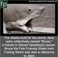 """Finding Nemo, Lawyer, and Memes: Sources mentioned at: factpoint.net  fp  The sharks built for the movie Jaws  were collectively named """"Bruce,""""  a tribute to Steven Spielberg's lawyer.  Bruce the Fish Friendly Shark from  Finding Nemo was also a reference  to Jaws. Subscribe to our YouTube channel: youtube.com-FactPoint check Source at : FactPoint.net- Or check this link: http:-www.tested.com-art-movies-456576-robot-shark-technology-jaws-"""