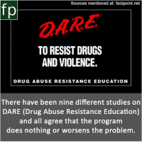 Drugs, Memes, and Wikipedia: Sources mentioned at: factpoint.net  OARE  TO RESIST DRUGS  AND VIOLENCE.  DRUG ABUSE RESISTANCE EDUCATION  There have been nine different studies on  DARE (Drug Abuse Resistance Education)  and all agree that the program  does nothing or worsens the problem. Subscribe to our YouTube channel: youtube.com-FactPoint check Source at : Factpoint.net- Or check this link: https:-en.wikipedia.org-wiki-Drug_Abuse_Resistance_Education Studies_on_effectiveness
