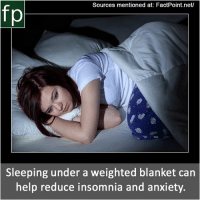 Memes, youtube.com, and Anxiety: Sources mentioned at: FactPoint.net/  Sleeping under a weighted blanket can  help reduce insomnia and anxiety. Subscribe to our YouTube channel: youtube.com-FactPoint check Source at : FactPoint.net- Or check this link: http:-www.ptsdjournal.com-posts-sleeping-with-weighted-blanket-helps-insomnia-and-anxiety-study-finds-