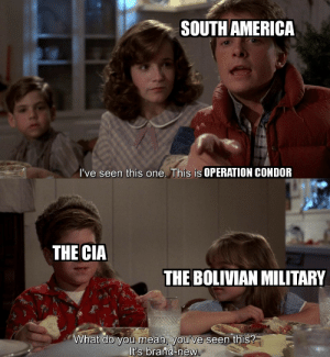 Reminder that the united states just coup d'etat bolivia: SOUTH AMERICA  I've seen this one. This is OPERATION CONDOR  THE CIA  THE BOLIVIAN MILITARY  What do you mean, you've seen this?  It's brand-new. Reminder that the united states just coup d'etat bolivia