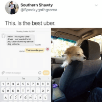 Hello, Uber, and Best: Southern Shawty  @Spookygothgrama  This. Is the best uber.  Thursday, October 19,2017  Hello! This is your Uber  driver. I just wanted to let  you know I have my service  dog with me.  1:22 PM  1:24 PM  That sounds great  Enter message  SEND  I'm  Ok  1 2 3 4 5 6 78 9 0  A S D F GH J K L