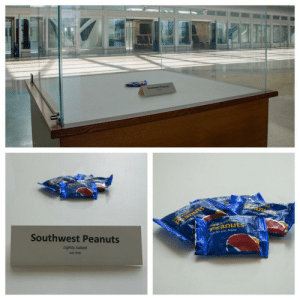 In honor of the anniversary of the last bag of peanuts offered on a Southwest flight, Orlando International Airport (MCO) set up this exhibit to honor a relic of airplane food history: Southwest Peanuts  Light ed  eanuts  tec  anuts  J for you ey  Southwest Peanuts  Just forysu, Enjoy  tyalte  Peanuts  Lightly Salted  ust for you. Enjoy.  July 2018 In honor of the anniversary of the last bag of peanuts offered on a Southwest flight, Orlando International Airport (MCO) set up this exhibit to honor a relic of airplane food history