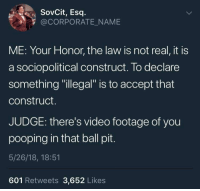 """Video, MeIRL, and Corporate: SovCit, Esq  @CORPORATE_NAME  ME: Your Honor, the law is not real, it is  a sociopolitical construct. To declare  something """"illegal"""" is to accept that  construct.  JUDGE: there's video footage of you  pooping in that ball pit  5/26/18, 18:51  601 Retweets 3,652 Likes meirl"""
