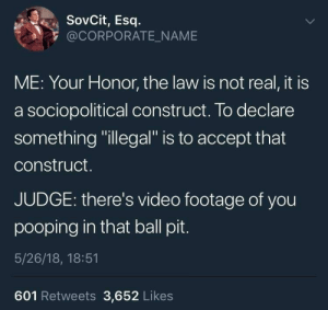 "meirl by Cunt_Bucket_ MORE MEMES: SovCit, Esq  @CORPORATE_NAME  ME: Your Honor, the law is not real, it is  a sociopolitical construct. To declare  something ""illegal"" is to accept that  construct.  JUDGE: there's video footage of you  pooping in that ball pit  5/26/18, 18:51  601 Retweets 3,652 Likes meirl by Cunt_Bucket_ MORE MEMES"