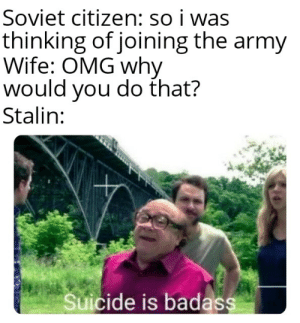 DeVito for meme of the decade: Soviet citizen: so i was  thinking of joining the army  Wife: OMG why  would you do that?  Stalin:  Suicide is badass DeVito for meme of the decade