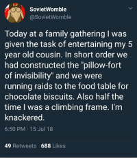"Climbing, Family, and Food: SovietWomble  @SovietWomble  Today at a family gathering I was  given the task of entertaining my 5  year old cousin. In short order we  had constructed the ""pillow-fort  of invisibility"" and we were  running raids to the food table for  chocolate biscuits. Also half the  time I was a climbing frame. l'm  knackered  6:50 PM 15 Jul 18  49 Retweets 688 Likes <p>Wholesome cousin</p>"