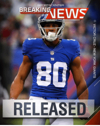 Repost @sportscenter: BREAKING: The Giants have released wide receiver VictorCruz (via northjersey.com confirmed by ESPN) 👀 WSHH: SP RT9CENTER  BREAKIN  80  RELEASED  O VICTOR CRUZ-NEW YORK GIANTS  TU Repost @sportscenter: BREAKING: The Giants have released wide receiver VictorCruz (via northjersey.com confirmed by ESPN) 👀 WSHH