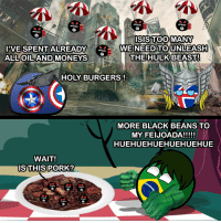 So Murica saved by an immigrant... again... #Capivara  Thanks USABall and Icelandball.: SP  SP  ISIS TOO MANY  I'VE SPENT ALREADY  WE NEED TO UNLEASH  ALLOILAND MONEYS  THE HULK BEAST!  HOLY BURGERS!  MORE BLACK BEANS TO  MY FEIJOADA!!!!!  HUEHUEHUEHUEHUEHUE  WAIT!  IS THIS PORK? So Murica saved by an immigrant... again... #Capivara  Thanks USABall and Icelandball.