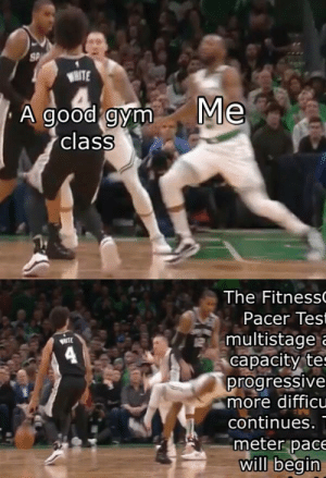 The FitnessGram™ Pacer Test is a multistage aerobic capacity test that progressively gets more difficult as it continues. The 20 meter pacer test will....: SP  WHITE  Me  A good gym  class  The Fitness  Pacer Test  multistage a  WRTE  capacity tes  progressive  more difficu  continues.  meter pace  will begin The FitnessGram™ Pacer Test is a multistage aerobic capacity test that progressively gets more difficult as it continues. The 20 meter pacer test will....