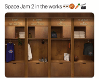 Basketball, Nba, and Sports: Space Jam 2 in the works . .  d9  B. BUNNY  L. JAMES  23  SMALL FORWARD  T. NANCE  20  DIRECTOR  R. COOGLER  21  PRODUCER  POINT GUARD  dla Hyped🔥🔥 nbamemes nba lebron spacejam tunesquad (Via @springhillent)
