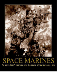 WHAT??? I CAN'T HEAR YOU!: SPACE MARINES  I'm sorry, l can't hear you over the sound of how awsome lam. WHAT??? I CAN'T HEAR YOU!