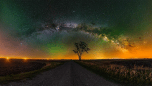 Tumblr, Summer, and Blog: space-pics:  180 degree panorama of the summer night sky complete with atmospheric air glow [OC][2048x1152]