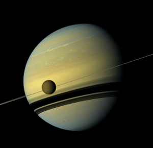 space-pics:  Cassini spacecraft captured this image of Saturn and Titan: space-pics:  Cassini spacecraft captured this image of Saturn and Titan