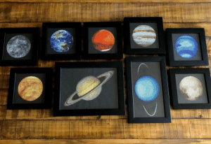 space-pics:  I've been working on cross-stitching the solar system. My progress so far..: space-pics:  I've been working on cross-stitching the solar system. My progress so far..