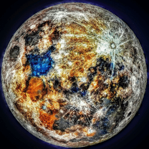 "space-pics:  I took the color data from 150k images of the moon, and you can see where impacts ""paint"" the moon with fresh color: space-pics:  I took the color data from 150k images of the moon, and you can see where impacts ""paint"" the moon with fresh color"