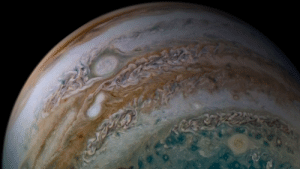 space-pics:  Jupiter Storms Merging by NASA's Marshall Space Flight Center: space-pics:  Jupiter Storms Merging by NASA's Marshall Space Flight Center