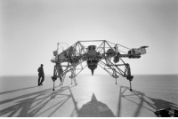 """Tumblr, Neil Armstrong, and Air Force: space-pics:  Neil Armstrong next to a Lunar Landing Research Vehicle (LLRV), nicknamed the """"flying bedstead,"""" at Edwards Air Force Base, California, August 1, 1964 [1500x994]"""