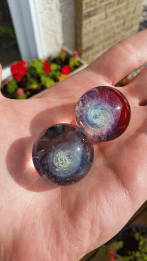 Tumblr, Blog, and Space: space-pics:  [OC] Some galaxy marbles I made last month. Made with borosilicate glass.