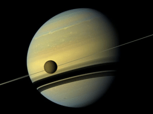 space-pics:  Saturn's largest moon Titan, captured by the Cassini probe.: space-pics:  Saturn's largest moon Titan, captured by the Cassini probe.