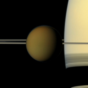 space-pics:  Saturn and its giant moon Titan. Credit: Cassini: space-pics:  Saturn and its giant moon Titan. Credit: Cassini
