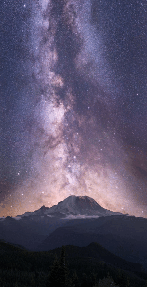 "space-pics:  Sky Giant. The late August Galactic Core drifts into Vertical alignment with Mount Rainier. A 4 shot Pano at 55mm using a star tracker at 200"" per shot. [OC]: space-pics:  Sky Giant. The late August Galactic Core drifts into Vertical alignment with Mount Rainier. A 4 shot Pano at 55mm using a star tracker at 200"" per shot. [OC]"