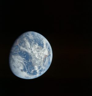 Africa, America, and Taken: space-pics:  The first whole Earth image taken by a human, likely Bill Anders, taken during Apollo 8 at a distance of about 27,000 km. South is approximately to the right. Central America and Florida is towards the bottom of the image with the west coast of Africa at top left. [4400 x 4600]