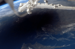 space-pics:  The International Space Station was in position to view the umbral shadow cast by the Moon as it moved between the Sun and the Earth during the solar eclipse on March 29, 2006. This astronaut image captures the shadow across southern Turkey, northern Cyprus, and the Mediterranean Sea.: space-pics:  The International Space Station was in position to view the umbral shadow cast by the Moon as it moved between the Sun and the Earth during the solar eclipse on March 29, 2006. This astronaut image captures the shadow across southern Turkey, northern Cyprus, and the Mediterranean Sea.