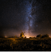 Tumblr, Blog, and Http: space-pics:  The milky way rising behind old windmills in Resmo, Öland, Sweden by Jörgen Tannerstedt [2048x2048]