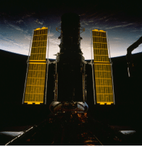 space-pics:  The new set of solar array panels deployed on the Hubble Space Telescope (HST) is backdropped against the blackness of space and a widely cloud-covered area on Earth during the STS-61 servicing mission [4674 x 4769]: space-pics:  The new set of solar array panels deployed on the Hubble Space Telescope (HST) is backdropped against the blackness of space and a widely cloud-covered area on Earth during the STS-61 servicing mission [4674 x 4769]