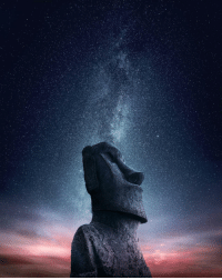 Easter, Head, and Tumblr: space-pics:  Unusual Moai Head Photography take at Night is a door open to the Galaxy - Easter Island - [2400x3000]