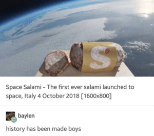 Me_irl by MussoIiniTorteIIini MORE MEMES: Space Salami - The first ever salami launched to  space, Italy 4 October 2018 [1600x800]  baylen  history has been made boys Me_irl by MussoIiniTorteIIini MORE MEMES