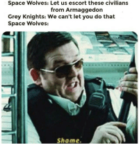 grey knights: Space Wolves: Let us escort these civilians  from Armaggedon  Grey Knights: We can't let you do that  Space Wolves:  Shame.
