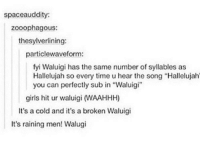 """Hallelujah: spaceauddity:  zooophagous:  thesylverlining:  particlewaveform:  fyi Waluigi has the same number of syllables as  Hallelujah so every time u hear the song """"Hallelujah  you can perfectly sub in """"Waluigi""""  1  girls hit ur waluigi (WAAHHH)  It's a cold and it's a broken Waluigi  It's raining men! Walugi"""