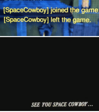 The Game, Game, and Space: SpaceCowboy] joined the game  ISpaceCowboy] left the game.   SEE YOU SPACE COWBOY.