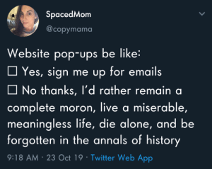 Being Alone, Be Like, and Life: SpacedMom  @copymama  Website pop-ups be like:  Yes, sign me up for emails  No thanks, l'd rather remain a  complete moron, live a miserable,  meaningless life, die alone, and be  forgotten in the annals of history  9:18 AM 23 Oct 19 Twitter Web App Meirl