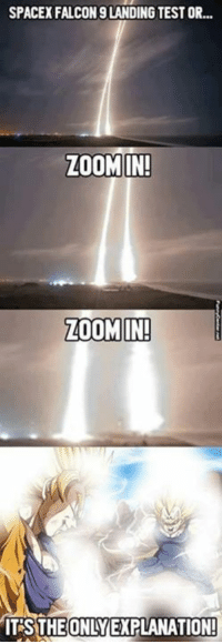 Memes, Zoom, and Falcons: SPACEX FALCON 9 LANDING TESTOR...  ZOOM IN!  ZOOM IN!  ITSTHEONLY EXPLANATION! XD - Monkey D. Luffy