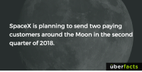Memes, Spacex, and 🤖: SpaceX is planning to send two paying  customers around the Moon in the second  quarter of 2018.  uber  facts Who's down for a little space travel?