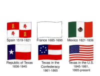 Texas: Spain 1519-1821  France 1685-1690  Mexico 1821-1836  Republic of Texas Texas in the Texas in the U.S  Confederacy  1861-1865  1836-1845  1845-1861  1865-present