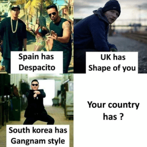 Shape Of You: Spain has  Despacit<o  UK has  Shape of you  Your country  has?  South korea has  Gangnam style