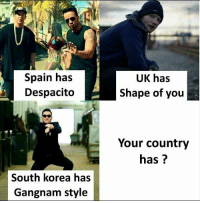 Despacito: Spain has  Despacito  UK has  Shape of you  Your country  has?  South korea has  Gangnam style