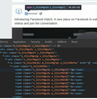 "Facebook, Videos, and Wat: span.v 11ix34gx2u. s 11ix34gx2j 14.69 x 16  Sponsored  Introducing Facebook Watch. A new place on Facebook to wat  videos and join the conversation.  lemory Application Security Audits AdBlock  iv class-""b_11ix34gx2v v 1lix34gx2u""e  div class-""b 1lix34gx2v V 1lix34gx2u  rdiv class=""a_111x34gx21 v_11ǐx34gx2 us  Readt  <div class-""o 11ix34gx2g v 11ix34gx2u"">  <div class ""s_1lix34gx2j v 1lix34gx2u>  ""(a class-""b_111x34ejkz m_111x34g7ph o_111x34efb5"" href-""4"" rol  v <span class-""o 11ix34jh8s"">  <span class-""v 11ix34gx2u s_1lix34gx2j"">Sp</span>  <span class-""v 11ix34gx2u p_1lix34d10b"">S</span>  <span class-""v 11ix34gx2u s_1lix34gx2j""on</span>  <span class-""v 11ix34gx2u p 11ix34d10b S</span>  <span class-""v 11ix34gx2u s_1lix34gx2j"" so</span>  <span class-""v 11ix34gx2u p_1lix34d10b"">S</span>  くspan class-""v_111x34gx2u s_11IX34gx2j"">red</span  <span class-""v llix34gx2u p_llix34d10b"">S</span>  </span> How to get through adblock"