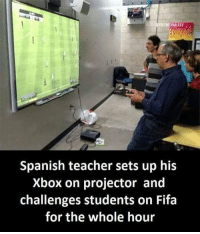 What a legend! @gamingplus2 . . . gaming gamer games videogames cod gta csgo minecraft starwars marvel xbox playstation nintendo nerd geek leagueoflegends pc youtube lol fun funny letskillping dota2 game dccomics battlefield steam halo blizzard: Spanish teacher sets up his  Xbox on projector and  challenges students on Fifa  for the whole hour What a legend! @gamingplus2 . . . gaming gamer games videogames cod gta csgo minecraft starwars marvel xbox playstation nintendo nerd geek leagueoflegends pc youtube lol fun funny letskillping dota2 game dccomics battlefield steam halo blizzard